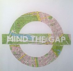 MIND THE GAP  Original Art made from a Vintage Map by SewPaperArt