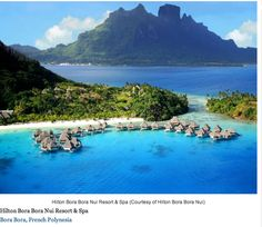 From Bora Bora and Fiji to the Maldives, 12 Condé Nast Traveler-approved hotels with overwater bungalows that seem to float in the sea. Someday I will honeymoon at one of these. Pictured here: The Hilton Bora Bora Nui Resort and Spa. Vacation Places, Vacation Destinations, Dream Vacations, Places To Travel, Dream Vacation Spots, The Places Youll Go, Places To See, Bora Bora Hotels, Bora Bora French Polynesia