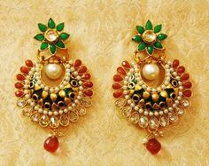 http://rubies.work/0623-multi-gemstone-ring/ Lalso Royal Designer Ruby Green Kundan Ad Zircon Bali Pearl Earrings Lae55 Mg Earrings