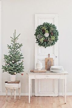 neutral christmas decor simple tabletop tree wreath all white