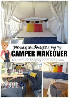 Jacque worked the theme of her pop up camper remodel around the print of her original cushions.  It turned out so cute, and saved her some cash, too!