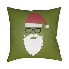 "Brayden Studio Cool Santa Indoor/Outdoor Throw Pillow Size: 18"" H x 18"" W x 4"" D, Color: Green / Red / Black / White"