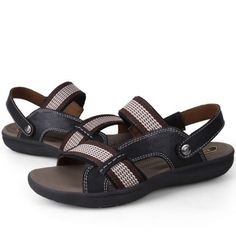 NEW-Summer-Mens-Full-grain-Leather-Sandals-Slippers-Casual-Beach-Flats-Shoes
