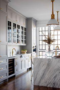 Gold Kitchen Hardware, Grey Kitchen Cabinets, Kitchen Cabinet Colors, Kitchen Storage, Gold Hardware, Kitchen Counters, Bronze Kitchen, Shaker Cabinets, Kitchen Colors