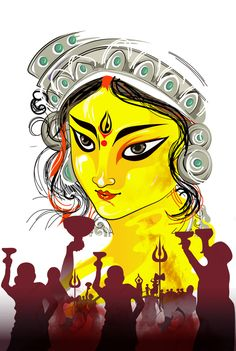 """Ugadi is also known as """" Pohela Boishakh"""" in West Bengal and Tripura Durga Painting, Madhubani Painting, Durga Maa Paintings, Indian Folk Art, Cherokee Indian Art, Art Drawings Sketches Simple, Drawing Ideas, Durga Puja, Indian Art Paintings"""