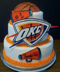 Fondant OKC Thunder Cake Creative Cake Designs by Tya