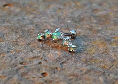 Light Green Fire Opals Stud Cartilage Earring 5 Fire Opals Piercing16g  Upper Ear Jewelry
