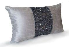 Grey beaded Lumbar Pillows -Grey Silk Metallic Pillow cover -Sparkle Pillow -Gray Beads Embroidered Pillow -Multiple Sizes -Gift -Wedding