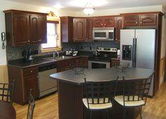Modular Log Home Interior Photos Redo Kitchen Cabinets, Kitchen Redo, New Kitchen, Kitchen Remodel, L Shape Kitchen Layout, Small Kitchen Layouts, Modular Log Homes, Log Home Decorating, Kitchen Island With Seating
