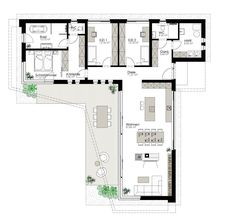 Kötz Haus – Solid brick and turnkey - Home & DIY U Shaped House Plans, U Shaped Houses, Dream House Plans, Small House Plans, House Floor Plans, Modern Architecture House, Architecture Plan, Plan Ville, Casa Loft