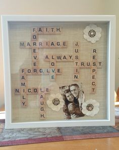 Scrabble wedding gift, in a shadow Box.                                                                                                                                                                                 More