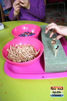 Balancing Marbles (Photo from Pink and Green Mama) Need to place tees in straight or marbles roll off - great fine motor task