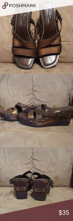 Donald j. Oliver wedges Still in good used condition great quality wedge top is all leather bottoms have a thick Rubber Sole last two pictures are of the scuff marks Donald J. Pliner Shoes Wedges