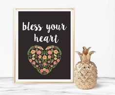 Bless Your Heart Print, Southern Printable, Funny Southern Quote, Country Saying, Country Print, Printable 8x10, Home Decor, Chalkboard Art