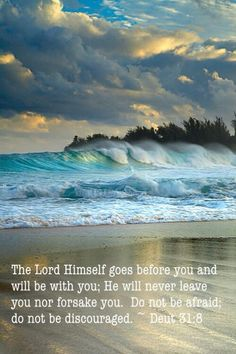 The Lord Himself goes before you and will be with you; He will never leave you nor forsake you. Do not be afraid; do not be discouraged. ~ Deut 31:8