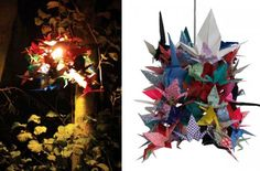 Lamps Made from Origami Cranes: Teach children how to make origami cranes etc and make sculptures which can light up for the exhibition, fairy lights- use patterned paper/wallpaper Origami Owl Easy, Origami Bow, Origami Wedding, How To Make Origami, Useful Origami, Origami Paper, Origami Cranes, Paper Cranes, Origami Decoration