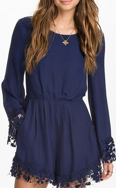 Navy Long Sleeve Contrast Lace Backless Jumpsuit