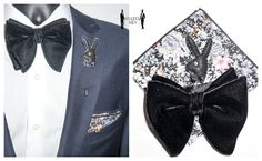 More combinations. Playboy lapel pin + Oversized black velvet bow tie + Floral Pocket Square w/ working button.  👉 👉 www.etsy.com/shop/SnazzyMen 👈👈  #menslook, #snazzymen, #manofstyle, #mensfashion, #menswear, #bowties, #bowtiesarecool, #dapper, #mensaccessories, #sartorial, #dandy, #lookbook, #lapelpins, #pingamestrong, #pinstagram, #menslapelpin, #polkadotbowtie,  #gq, #groomsmen, #groominspiration, #menwithclass, #madetomeasure, #instafashion, #tailoredsuit, #weddingtuxedo, #d..