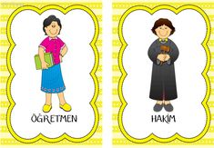 meslekler Learn Turkish, Turkish Language, Disney Characters, Fictional Characters, Clip Art, Disney Princess, Learning, Cards, Map