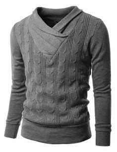 Doublju Mens V-neck Sweater with Shirring