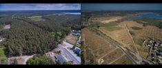 Męcikał - Kaszuby, po przejściu huraganu Huraganowe zestawienia. Obraz po lewej - lipiec 2017.  Obraz po prawej - kwiecień 2018.