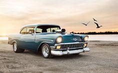 Herunterladen hintergrundbild 4k, chevrolet bel air sport coupe, retro cars, blue bel air, chevrolet