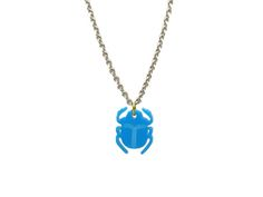 Scarab Necklace A typical Thing found all over ancient Egypt, The scarab Beetle symbolizes the restoration of life. The scarab was also a popular design for good luck charms. A Bright Blue Perspex Scarab Pendant Charm Finished off with a Stainless steel 18-20 Inch chain #fashion #style #unisex #ss17