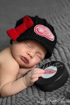 The Original- Detroit Red Wings Crochet Newsboy Hat with Patch / Hockey Baby / NHL Baby/ Photo Prop / Item 201 on Etsy, $29.99