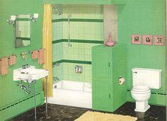 vintage green and white crane bathroom