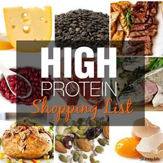 High Protein Shopping List - Protein is power—at least when you're losing weight and maintaining a healthier body. Looks like mostly Paleo. Best Protein, High Protein Low Carb, Protein Diets, High Protein Recipes, Protein Snacks, Healthy Snacks, Healthy Recipes, High Protien, High Protein Foods List