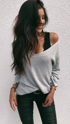 cute autumn outfit / top + one shoulder sweater + skinnies - Outfits - Cute Outfits Fashion Mode, Look Fashion, Winter Fashion, Womens Fashion, Ladies Fashion, Fashion Ideas, Skinny Fashion, 90s Fashion, Fall Fashion 2018