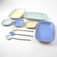"(Sushi) Dish set in grey and Rectangle serving ware in pastel blues and cream colors - From the ""Stone and Color"" collection. Design and handmade by Suus Notenboom from Noot & Zo"