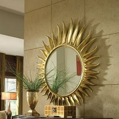 American Drew Bob Mackie Home Signature Collection: Accent mirror Entry Way Design, Door Design, Feng Shui, Seattle Homes, Sunburst Mirror, Mirror Mirror, Led Furniture, Relax, Through The Looking Glass