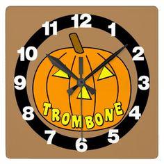 #Trombone Halloween Pumpkin Square Wall Clock - #Halloween #happyhalloween #festival #party #holiday