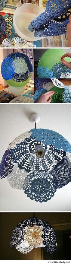 Doilie lamp - LikeaLady.net