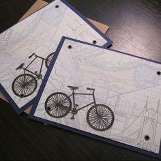 Portland Map & Bike  ScreenPrinted Card 6Pack by twoguitars, $20.00