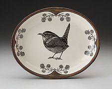 "Small Serving Dish: Carolina Wren by Laura Zindel (Ceramic Platter) (1.5"" x 10"")"