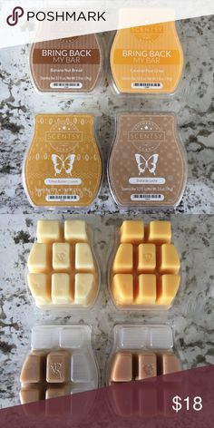 Scentsy Wax Bars Bundle (4 piece bundle) 💛 💛 Scentsy Wax Bars Bundle (4 piece bundle), Banana Nut Bread, Caramel Pear Crisp, Toffee Butter Crunch, and Dulce de Leche...uplifting Fall scents, second photo shows how much is left of each, (All except the Toffee Butter Crunch are discontinued scents), smoke free/pet free home, I have additional Scentsy Bar listings, bundle for a discount 😊🛍 Scentsy Other