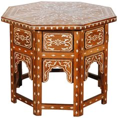 Large Scale Anglo Indian Table Inlaid with Mother of Pearl   From a unique collection of antique and modern side tables at http://www.1stdibs.com/furniture/tables/side-tables/