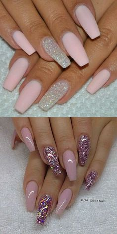 2016 Nail Trends 101 Pink Nail Art Ideas Source by Pink Nail Art, Cute Acrylic Nails, Acrylic Nail Designs, Nail Art Designs, Nails Design, Pink Art, Pink Sparkly Nails, Light Pink Acrylic Nails, Pastel Pink Nails