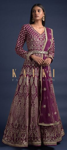 Cherry red anarkali suit in georgette with zari and sequins embroidered floral jaal on the bodice. Further enhanced with heritage kalidar embroidery. Wedding Salwar Kameez, Lycra Leggings, Embellished Belt, Anarkali Suits, Red Fabric, Pakistani, Festive, Bodice, Sequins