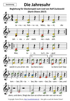 """Accompaniment to the song """"Die Jahresuhr"""" by Rolf Zuckowski, with colorful notes of two … - Bildung Kindergarten Songs, Kindergarten Portfolio, Rolf Zuckowski, Colorful Notes, Organized Mom, Music Lessons, Music Activities, Kids And Parenting, Back To School"""