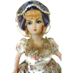 We uncovered this c1915 French Boudoir doll in the attic of an estate and thought she had the most beautiful hand painted face. Description from rubylane.com.