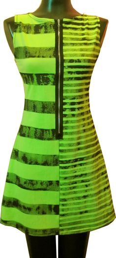 Lime Black Stripe Zipper Dress. $90.00, via Etsy.