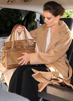 Katie Holmes in a Max Mara camel hair coat