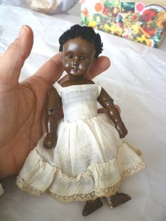 "Antique 7"" Bisque Germany/German Black Doll -All jointed with Marks 