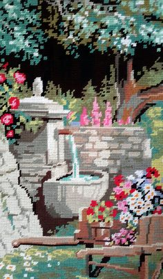 Au fond du jardin garden scene vintage hand by fleursusannah