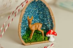 Just something I made! Christmas Walnut Shell with one my my deer and mushrooms, and of course, German glitter