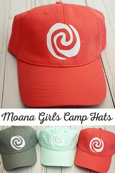 Moana Themed Girls Camp Hats | Ball caps with the Heart of Te Fiti for Moana Themed Girls Camp | Easy to make hats for Girls Camp