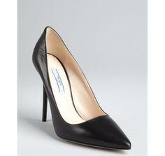 Prada black leather point toe pumps